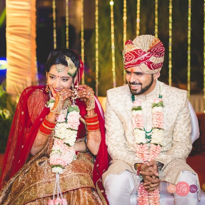 Ritika and Yash looking absolutely stunning in their wedding attires.