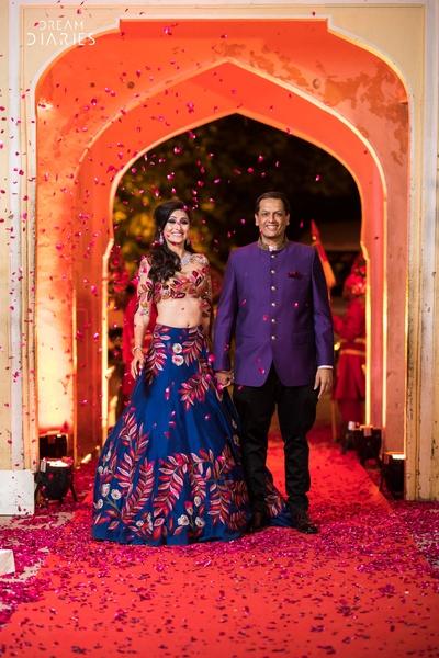 Traditional bride and groom on their sangeet day