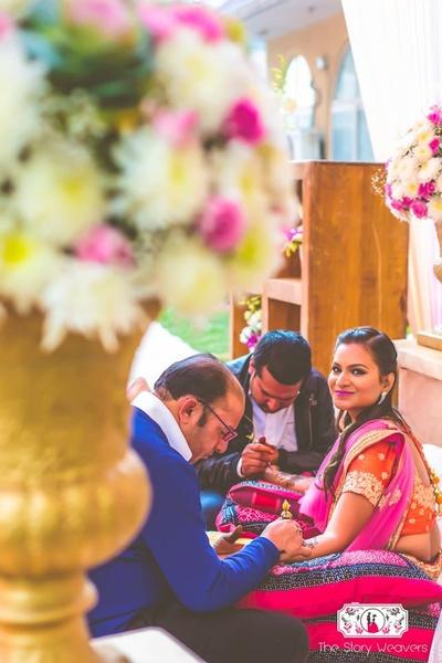 floral themed mehndi ceremony for bride Shruti
