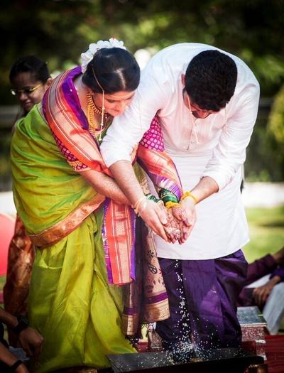 Mauve dhoti and white Kurta