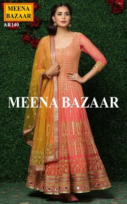 Meena Bazaar Coral Embroidered Anarkali Suit