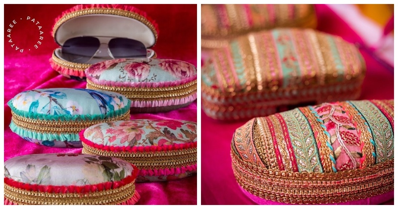 Brocade Sunglasses Covers are the Latest Mehendi Favours