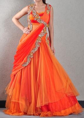 Embellished Orange Designer Gown