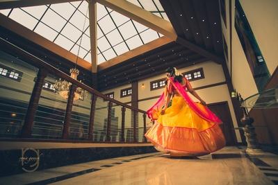 twirling bride for her haldi ceremony