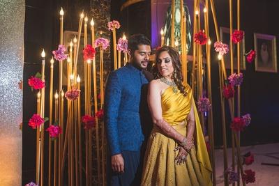 Bride and groom at their sangeet