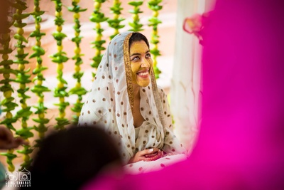 The radiant bride at the Haldi Ceremony