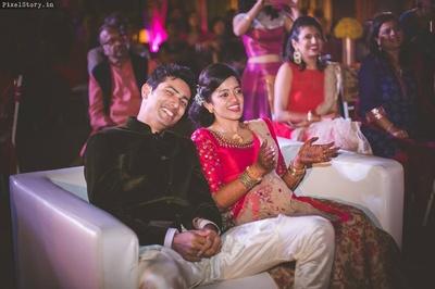 Couple enjoying their sangeet ceremony.