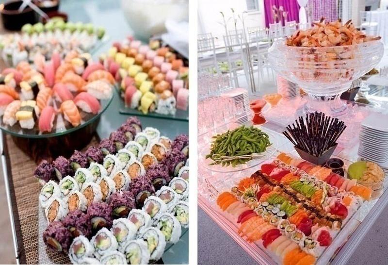 Wedding food bar idea: SUSHI BAR