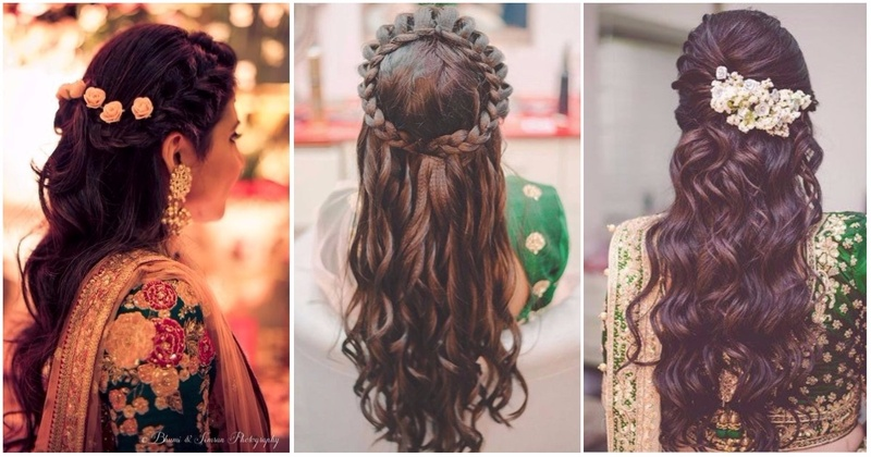 Mehndi Hairstyles Review : Half up down hairstyles to flaunt at a wedding mehndi or