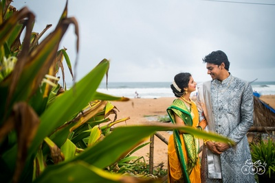 Trupti and Sai posing for a pre  wedding photography session with Knots by AMP