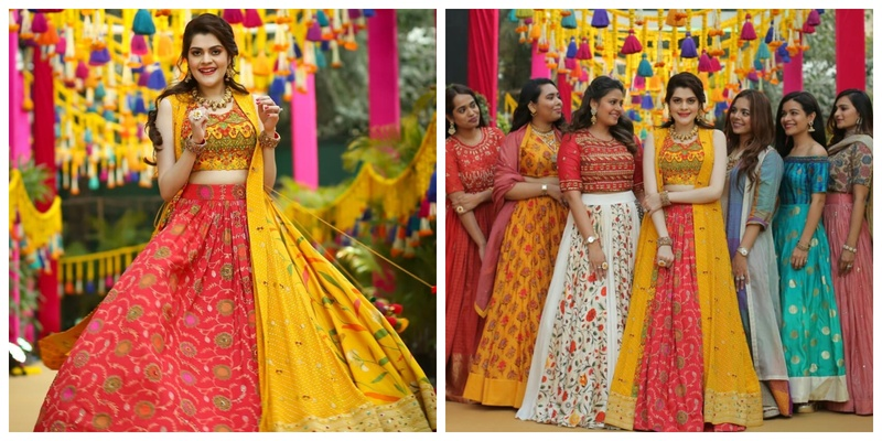 This designer bride not only self-designed her own mehndi lehenga, but her bridesmaids outfits too and they are all STUNNING!