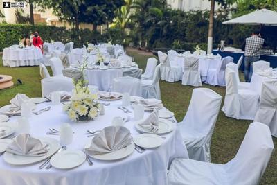 White decor for the Jewish wedding held at Samode palace, Jaipur.