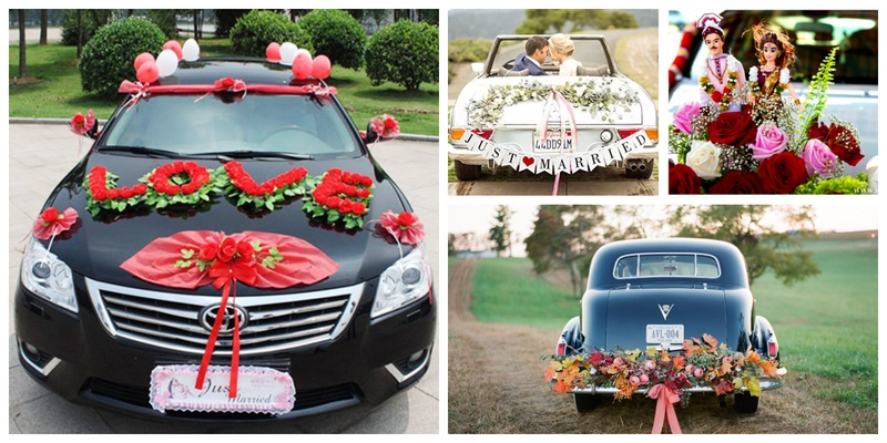 Wedding car decoration ideas that you can use for your marriage car decoration!