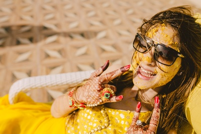 quirky bridal photoshoot for the haldi ceremony