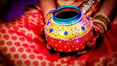 Pot adorned with color and embellishments