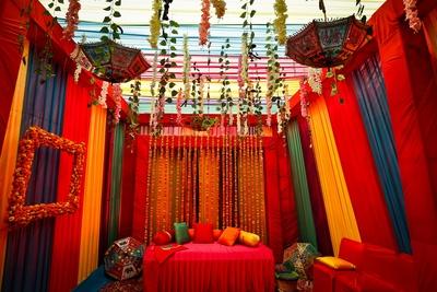 colourful drapes decor ideas mehendi ceremony