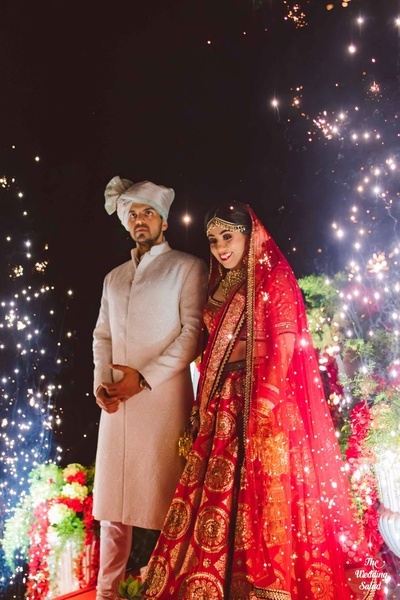 Bride and groom enter the wedding mandap at The Royal Elm, Karjat