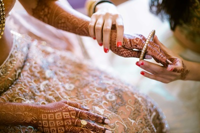 Bride getting ready for the wedding function at The Lalit Golf and Spa Resort, Goa