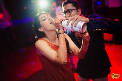 Quirky shots of the bride during her sangeet and cocktail night!