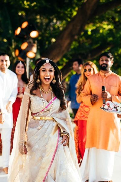 The bride entering her wedding