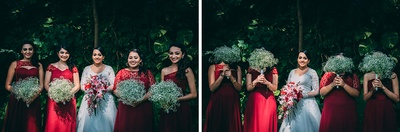 Maroon bridesmaids dressed with a sheer bodice and different necklines adorned with baby's breath flower bouquets