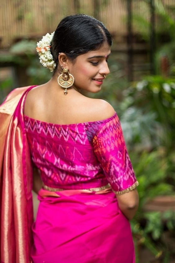 61eb4d814b322 Here s another wedding blouse design that is perfect to go with your bridal  silk saree. The gorgeous ikat print and bold off-shoulder pattern make this  one ...