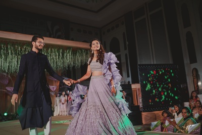 bride and groom entry to the sangeet ceremony