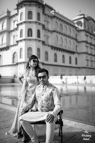 Black and white photograph from the couple's pre wedding shoot in Karnal