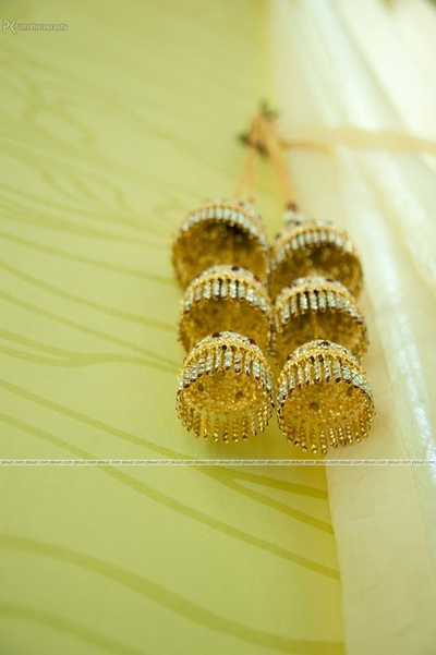 Crystals studded gold kaliras for the Bride-to-be