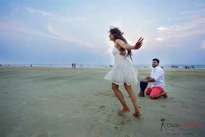 Beach pre wedding photoshoot of Aditi and Vasu