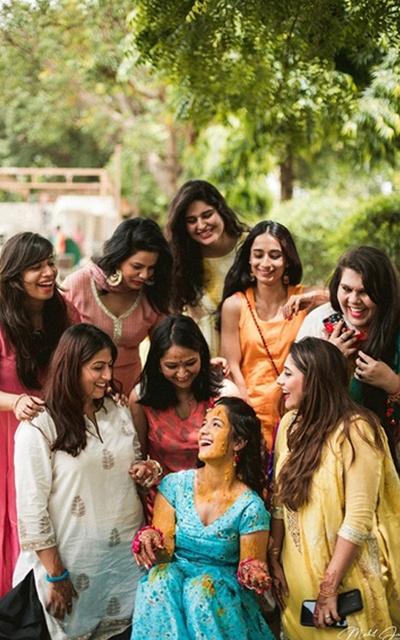 Bride and her bridesmaids at her haldi ceremony