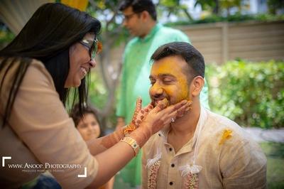 Anshul and Paridhi 's haldi ceremony