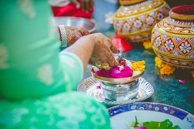 Worshiping the idol of Lord Ganesha