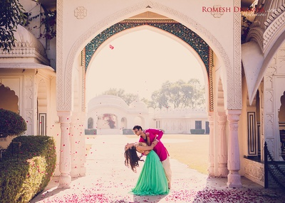 Destination pre wedding shoot held at Shiv Vilas Palace, Jaipur.