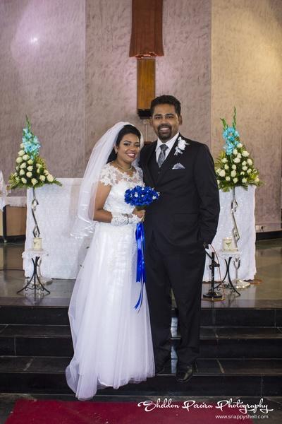 A-line wedding dress with a white metallic underskirt