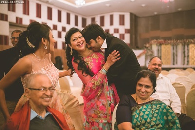 Cute moments of a groom. Hugging his mother with love.