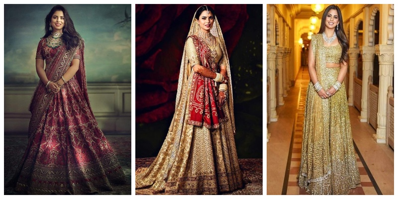Decoding all of Isha Ambani's bridal looks from her Wedding and Pre-wedding Functions!
