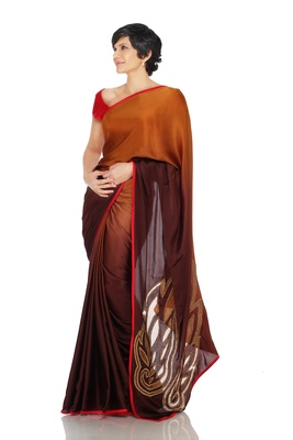 Brown Shaded Saree with Cutwork Wings on Paluu
