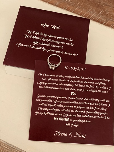 A look at the wedding invitation card.