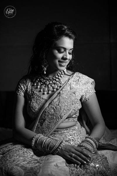 a beautiful black and white bridal portrait