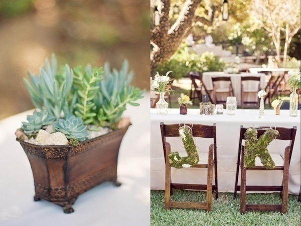 Green Wedding Centrepieces and Table Setting
