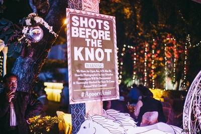 Quirky signage at Engagement and Sangeet ceremony.