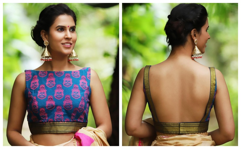 542a6aa05beda9 Kalamkari boat neck saree blouse design 2018. Image Source  House of Blouse