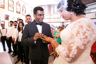 Bride Ujwala and Groom Francis getting hitched at The Lady of the Sacred Heart Church (OLSH) - Bangalore