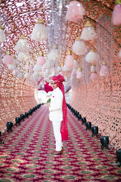 Walk away passage decked with cutwork canopy embellished in decorative ornaments and strings