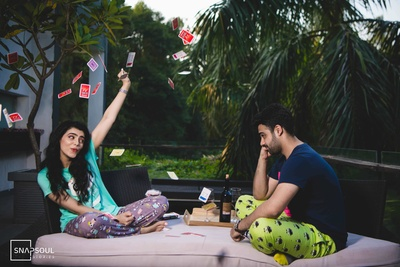 The couple is having a fun time at their pre-wedding shoot with some candid clicks!