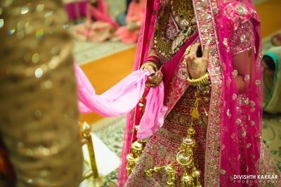 Bridal pretty pink details captured beautifully by Divishth Kakkar photography.