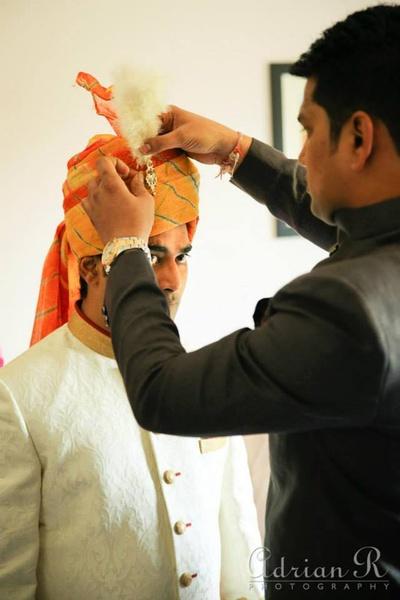 Feather styled kalgi for orange and red safa