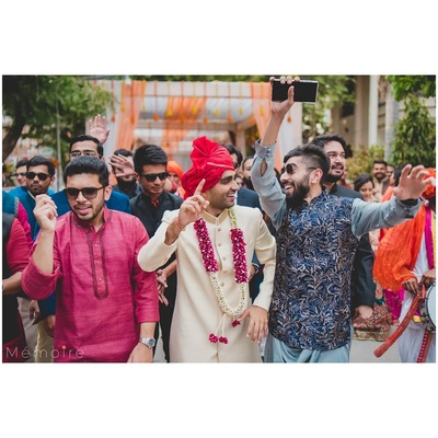 Groom with his squad at his wedding