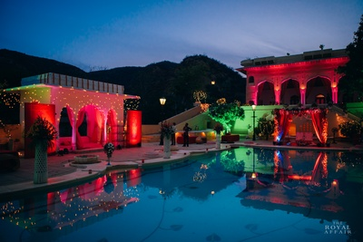 A sunset view at Samode Palace, Jaipur. The magic are the lights and drapes